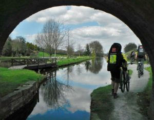 Cycling the Towpath route on the canal following the Severn Riv er Valley.